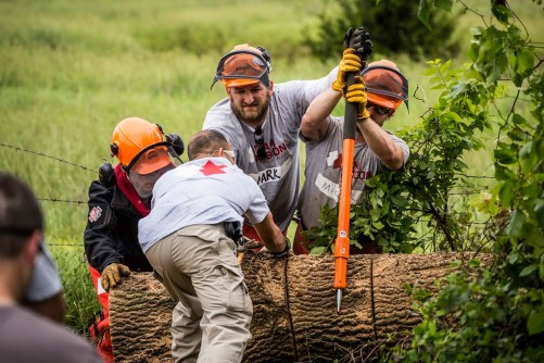 Mark Ambrose with his team. (Credit: Kirk Jackson, Team Rubicon)