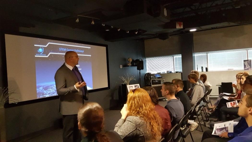 Bryan DeBates speaking to PPCC students