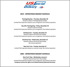 2019 Operations Holiday Schedule