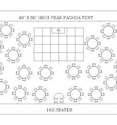 40 x 80 high peak pagoda tent seating 162 [ 1210 x 743 Pixel ]