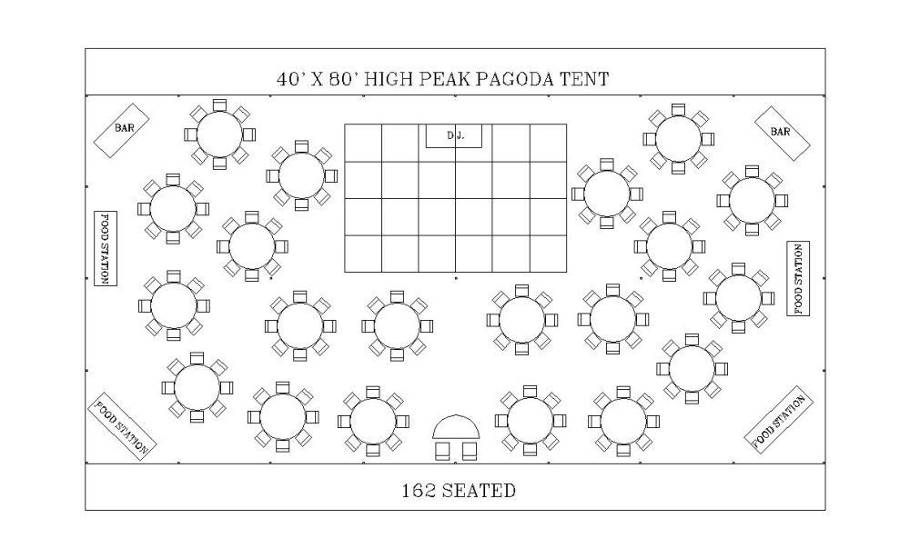 medium resolution of 40 x 80 high peak pagoda tent seating 162