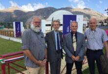 Franco Foresta Martin Con i professori Fabrizio Capaccioni (CNR), Mario Di Martino (Osservatorio Brera) e Massimo Turatto (Osservatorio Padova)