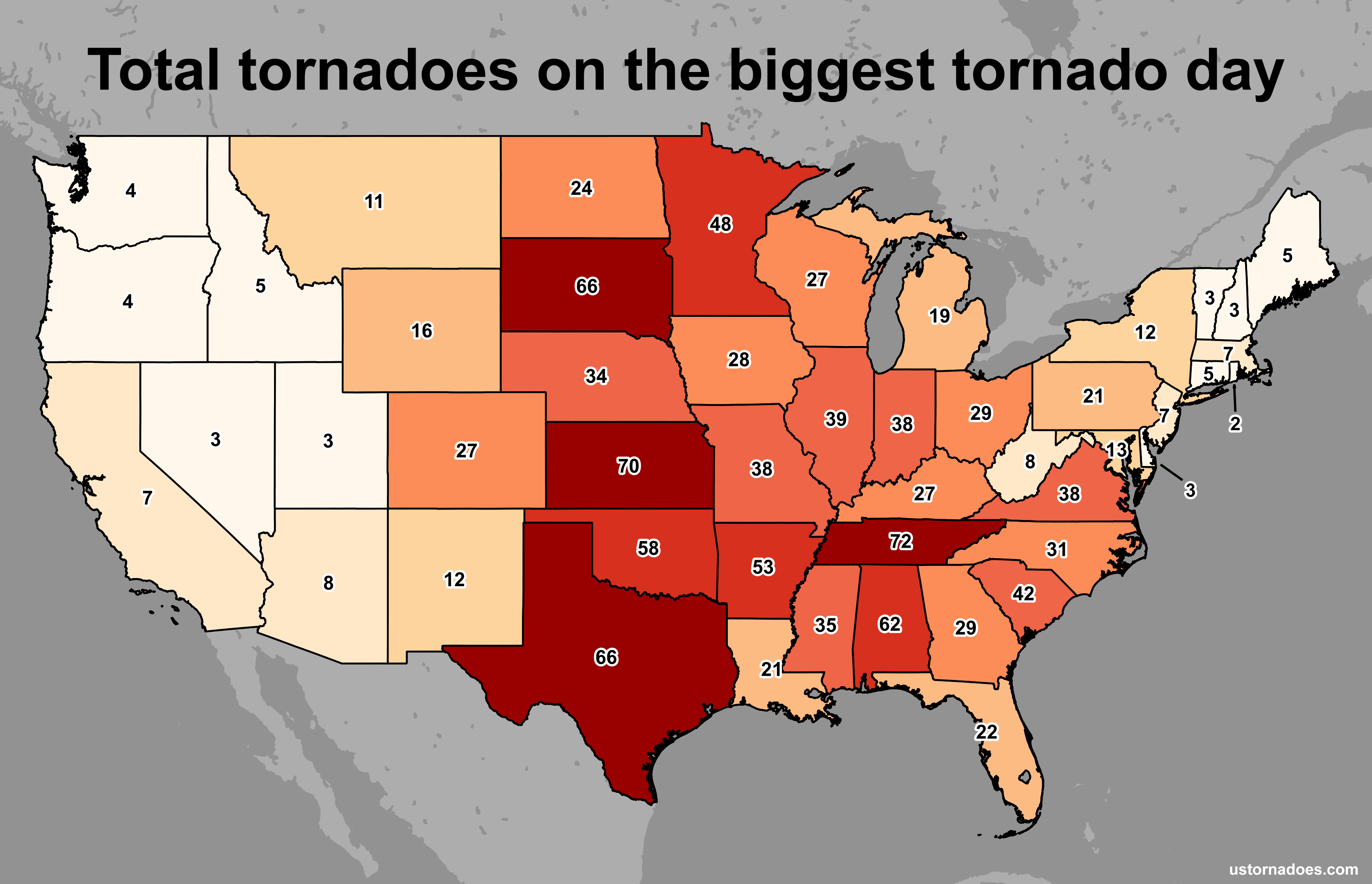 The Most Tornadoes In A Calendar Day By State
