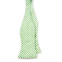 Lime Green and White Seersucker Bow Tie