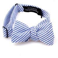 Navy Blue and White Striped Seersucker Bow Tie
