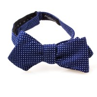 Navy Blue and White Polka Dot Diamond Point Bow Tie