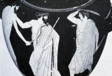 Greek vase depicting the Tyrannicides, Harmodius and Aristogeiton, killing Pisistratus' son Hipparchus (click to see larger image)