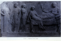 Relief depicting three actors sacrificing to Dionysus (click to see larger image)