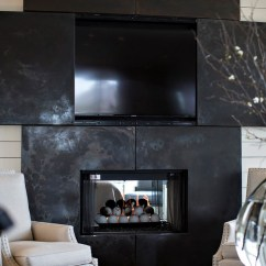 Kitchen Cabinet Makers Outdoor Components Blackened Stainless Steel And Tv Over Fireplace