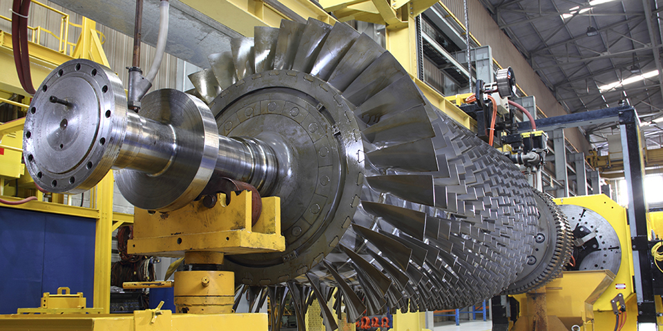 Turbine rotor at workshop