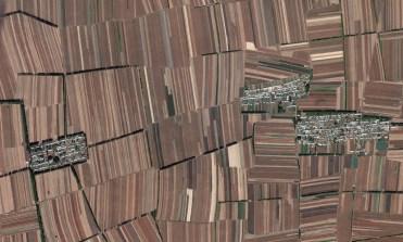 Rectangular fields landscape in China