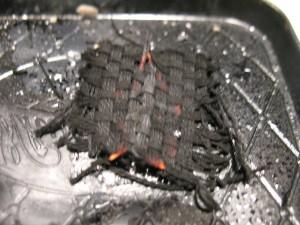 Char cloth burning