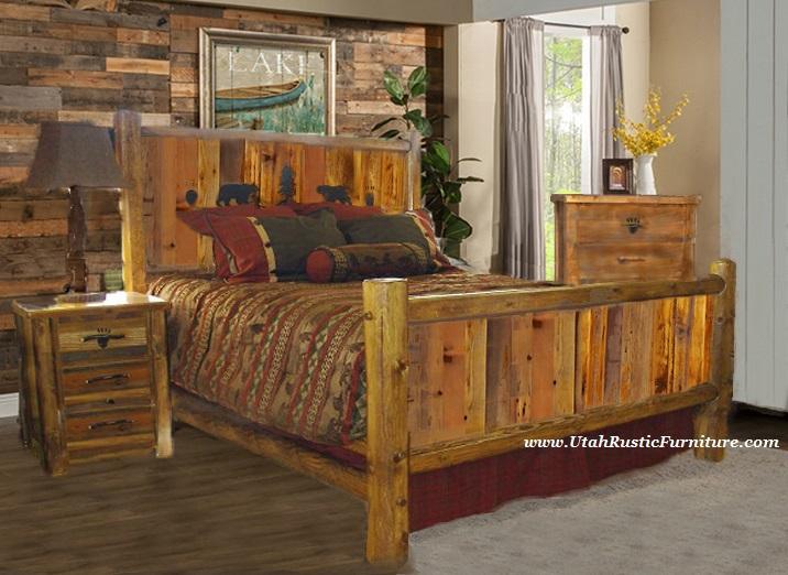 rustic wood bedroom furniture Bradley's Furniture Etc. - Utah Rustic Bear Paw Barnwood Bedroom Collection