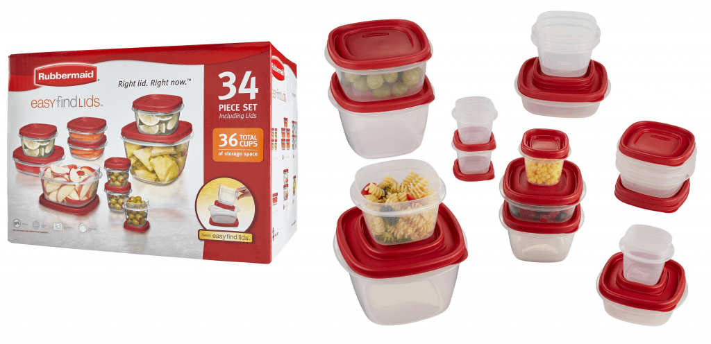 rubbermaid kitchen storage containers weekly hotel rates with kitchens hot 34 piece easy find lids food container set for as low 6 65 shipped reg 24 99