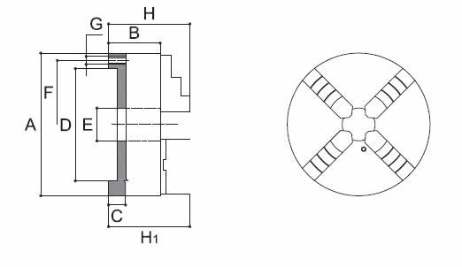 Mandrino autocentrante 4+4 art.273 doppia guida 4 griffe