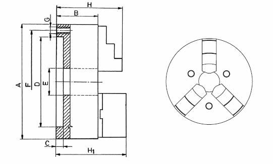 Mandrino autocentrante 3+3 art.263 grande diametro