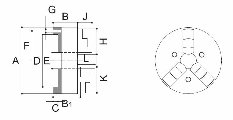 Mandrino autocentrante 3+3 art.283 guida semplice acciaio