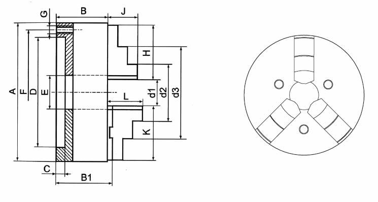 Mandrino autocentrante 3+3 art.150 guida doppia 3 griffe