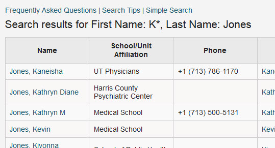 People Directory Search Tips Directory Main UTHealth