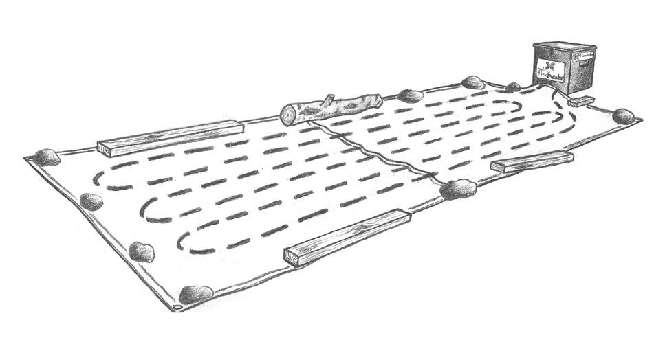Legg slangen med ett cc-mål på 15–35 cm, som på bildet ovenfor. Jo tettere slangen legges, desto fortere går tiningen. Det er mulig å tilslutte ytterligere to slangetromler når du anvender 400 volt.