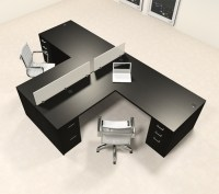 Two Person L Shaped Modern Divider Office Workstation Desk ...