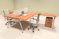 Two Person Acrrylic Divider Office Workstation Desk Set, #