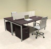 Two Person Modern Divider Office Workstation Desk Set, #OF ...