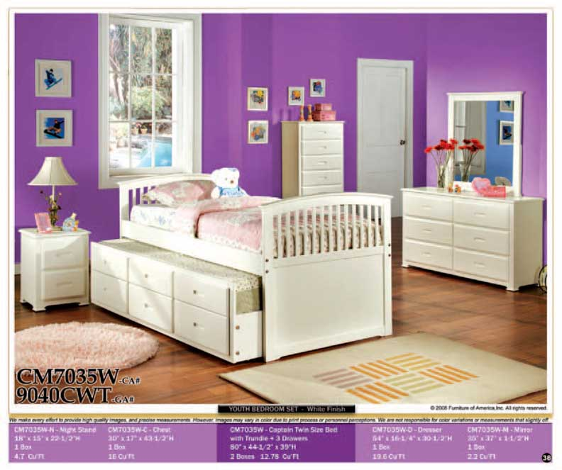 NEW 5pcs All Wood Twin Kids Trundle Bedroom Set CM7035  eBay