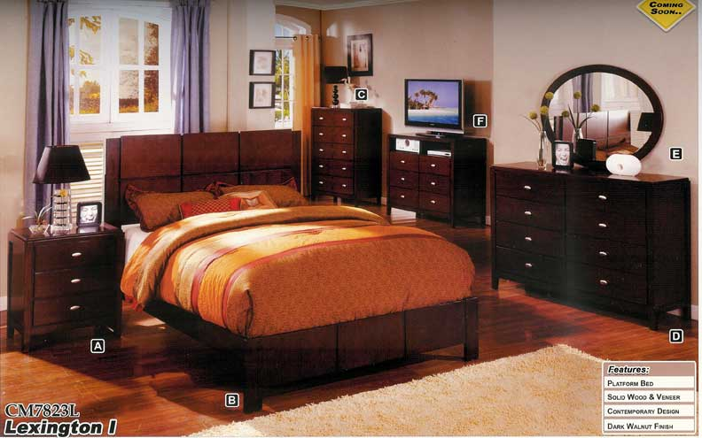 NEW 5pc Queen All Wood Contemporary Bedroom Set CM7823L