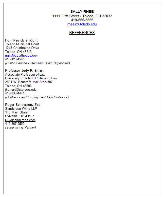 resume references separate page