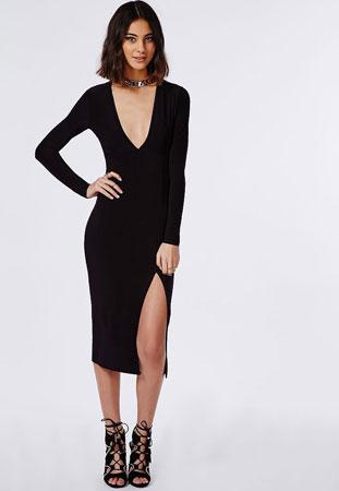 haljina sa dubokim V-izrezom