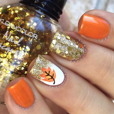 nokti sa jesenjim motivima i sljokicama