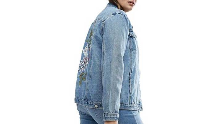 Teksas jakne sa cvetnim printom na leđima