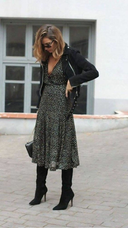 duboke cizme uz dugu haljinu