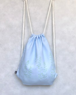 Lutukka Blue Linen Drawstring Bag
