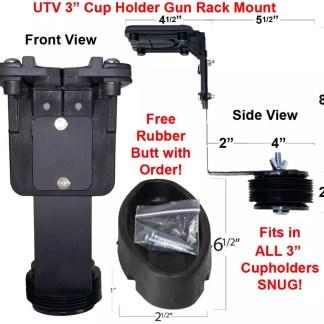 UTV Cup Holder Gun Rack Mount with Rubber Butt