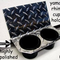 Yamaha Rhino Center Dash Dual Cup Drink Holder Diamond plate Aluminum..