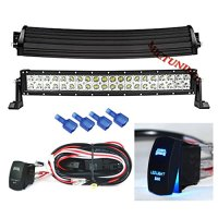 "MICTUNING 22"" Curved - 120W CREE LED Light Bar COMBO Spot/Flood 3W LED - 9000 Lumen 4x4 Off Road Jeep Polaris Razor ATV SUV UTV Car Truck_WITH LASER BLUE LED LIGHT BAR ROCKER SWITCH WIRING HARNESS"