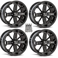 "MSA M17 Elixir ATV Wheels/Rims Black 14"" Can-Am Commander Maverick Renegade Outlander (4)"