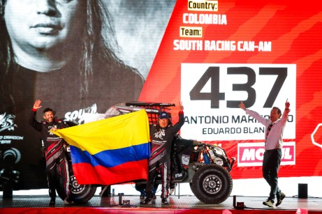 #437 Marmolejo Antonio (col), Blanco Eduardo (esp), Can-Am, South Racing Can-Am, SSV, action during the departure ceremony of the 2020 Dakar in Jeddah, Saudi Arabia on January 4, 2020 - Photo Julien Delfosse / DPPI