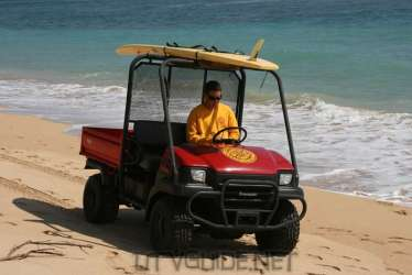 Kawasaki Mule on the beach in Kauai