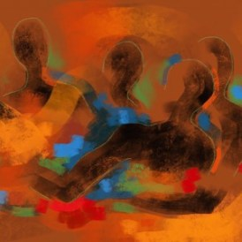 Abstract painting of dark-skinned figures in animated conversation; bright, warm colors