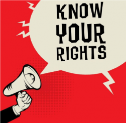 """Know Your Rights"" coming from a megaphone"