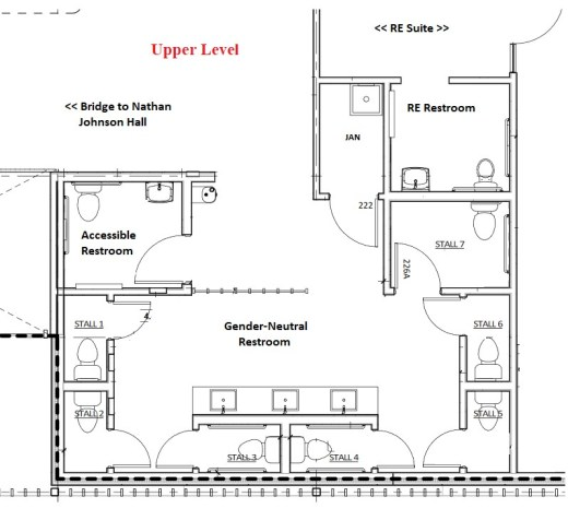 Architectural drawing of upstairs restrooms
