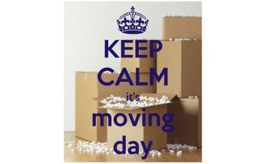 """Pile of boxes with """"Keep Calm - It_s Moving Day"""""""