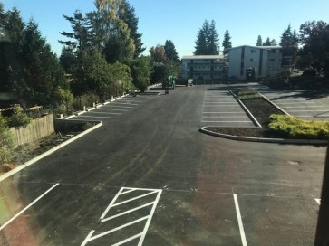 Photo looking south from our renovated building into the parking lot