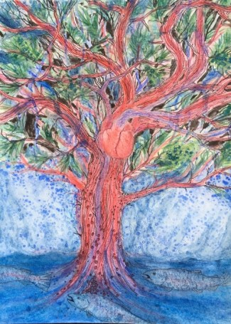 Catherine Ruha painting of a tree growing out of water with a heart and circulatory system and salmon where the roots would be