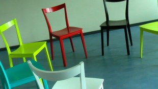 Circle of chairs of different colors