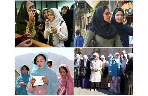 Four photos each showing women in hijabs