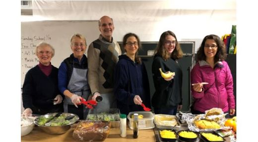 UUC folks helping at the Lake City Partners Winter Shelter dinner, January 2020